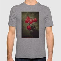 Red tulips  Mens Fitted Tee Athletic Grey SMALL