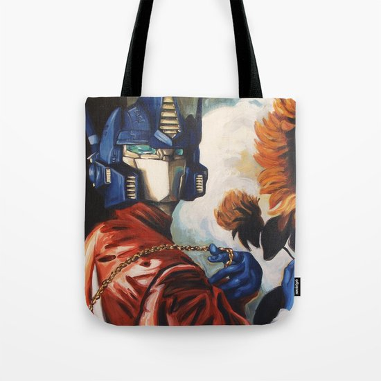 Optimus Prime With Sunflower Tote Bag