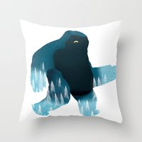 Yeti At Night Throw Pillow
