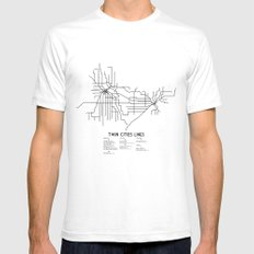 Twin Cities Lines Map SMALL Mens Fitted Tee White