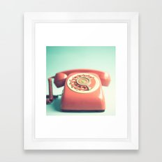 Pink Retro Telephone On … Framed Art Print