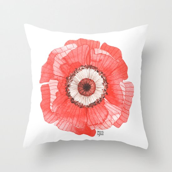 Red Poppy Throw Pillow by Oana Befort Society6