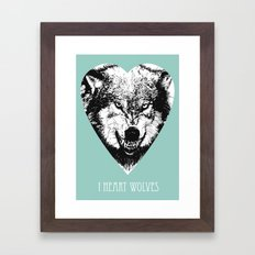 i heart wolves Framed Art Print