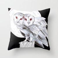 Mutant Owls Throw Pillow