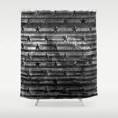 Black Stars & Black Stripes Shower Curtain