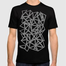 Abstract New White on Black Mens Fitted Tee Black SMALL