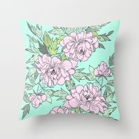 Mint Flowers Throw Pillow