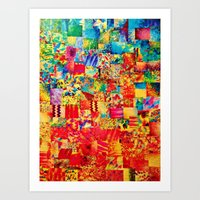 PAINTING THE SOUL - Vibrant Collage Mixed Abstract Acrylic Watercolor Painting Rainbow Colorful Art Art Print