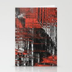 Red and Black Modern Art Stationery Cards