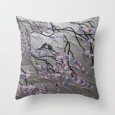 Cherry Blossoms and Birds in the Breeze Throw Pillow