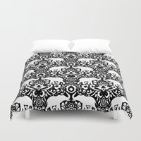 Elephant Damask Black and White Duvet Cover