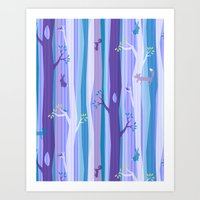 Purple Woodland Stripe Art Print