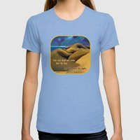Nor The Moon By Night Womens Fitted Tee Tri-Blue SMALL