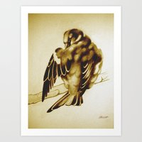 Sparrow Cleaning Art Print