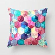 Topaz & Ruby Crystal Hon… Throw Pillow