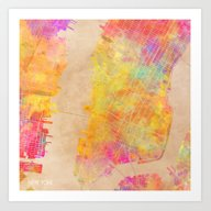 New York City Map Colore… Art Print