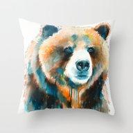 Throw Pillow featuring Grizzly Bear  by Slaveika Aladjova