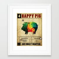 Happy pig Framed Art Print