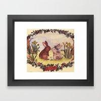 Bunnies In Love Framed Art Print