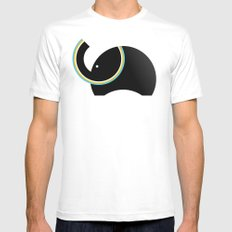 Retro Elephant White SMALL Mens Fitted Tee