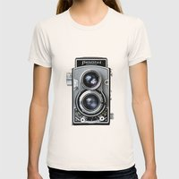 Flexaret Vinatge Camera Womens Fitted Tee Natural SMALL