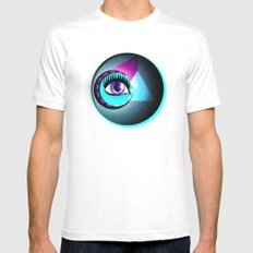 Halftone Eyeball Mens Fitted Tee White SMALL