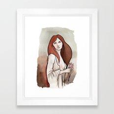 Brunette in Drapery Framed Art Print
