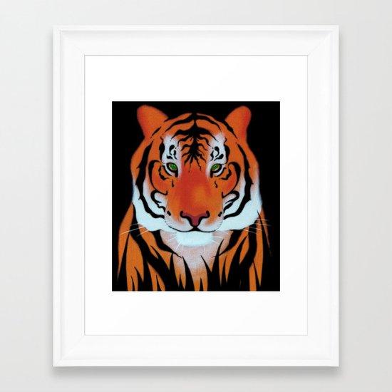 Green Eyes, Tiger Framed Art Print