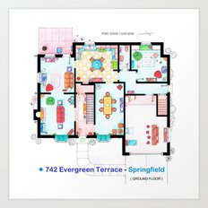 The house of Simpson family - Ground floor Art Print