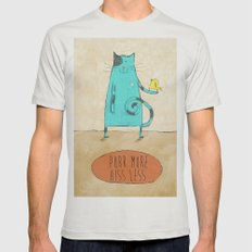 Purr More Hiss Less Mens Fitted Tee Silver SMALL