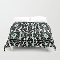 Art Deco Mint Duvet Cover