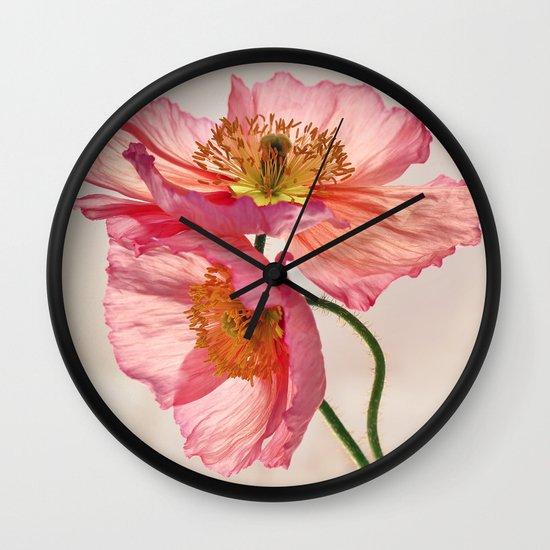 Like Light through Silk - peach / pink translucent poppy floral Wall Clock