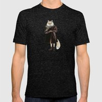 Fox in Sand Dunes Mens Fitted Tee Tri-Black SMALL