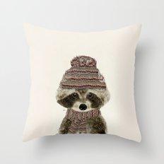 little indy raccoon Throw Pillow
