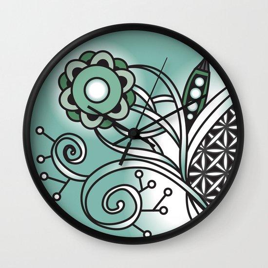 Ornate square tangle, Antique Green Wall Clock