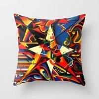 Intermixing Color Star  Throw Pillow
