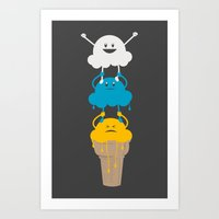 Ice Cream Cheerleading Stunt Art Print