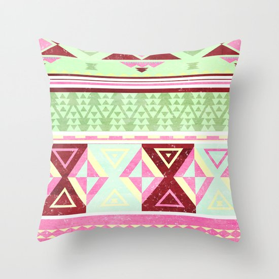 Neon Aztec Throw Pillow