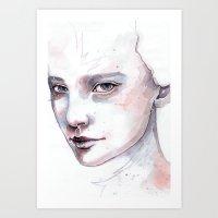 Frozen, quick watercolor portraiture Art Print