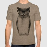 Mr. Owl Mens Fitted Tee Tri-Coffee SMALL