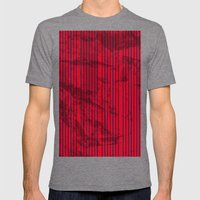 Grunge Blue stripes on bold red background illustration. Mens Fitted Tee Tri-Grey SMALL