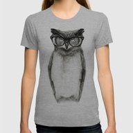 Mr. Owl Womens Fitted Tee Athletic Grey LARGE
