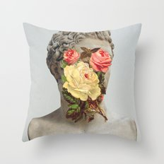 Bust With Flowers Throw Pillow