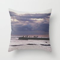 Surfers- Oahu-Honolulu Throw Pillow