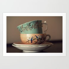 Golden Leaves Teacup Art Print