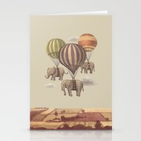 blue Stationery Cards featuring Flight of the Elephants  by Terry Fan