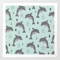 Mint dolphin geometric sea life illustration design  Art Print