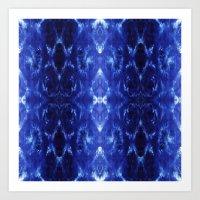 Ikat Shibori Blues Art Print