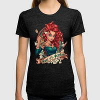 Fate Loves The Fearless Womens Fitted Tee Tri-Black SMALL