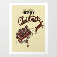 Pugs Christmas Art Print